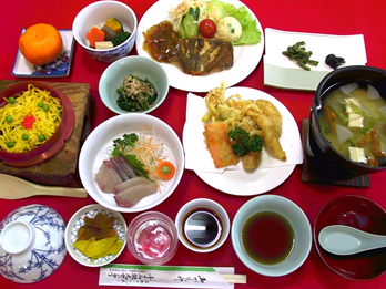 釜飯・だご定食(さしみ・天ぷら付
